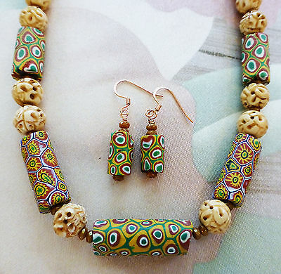 """LARGE MILLEFIORI AFRICAN TRADE BEAD, CARVED BEAD & CZECH BEAD necklace 20"""""""