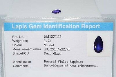 $1,900 1.41Ct Natural Lapis Gem Certified No Heat Violet Sapphire Loose Gemstone