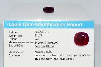 $44,000 13.75Ct Natural Lapis Gem Certified Cushion Cut Ruby Loose Gemstone