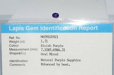 $1,600 1.71Ct Natural Lapis Gem Certified Bluish Purple Sapphire Loose Gemstone
