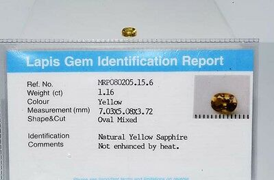 $1,050 1.16Ct Natural Lapis Gem Certified No Heat Yellow Sapphire Loose Gemstone