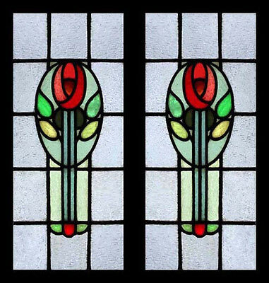 Art Nouveau Mackintosh Rose Pair English Antiue Stained Glass Window