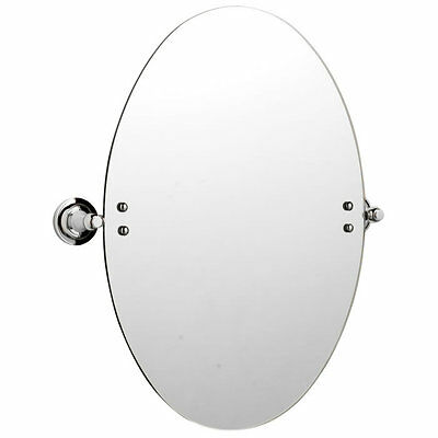 Wall Mounted Oval Tilting Glass Bathroom Mirror With Fixings & Chrome Brackets