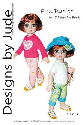 """Fun Basics Doll Clothes Sewing Pattern for 10""""  Patsy & Ann Estelle Dolls Tonner"""