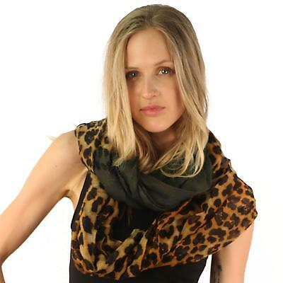 Leopard Animal Print Mix Wide Loop Circle Eternity Infinity Scarf Chain Charcoal