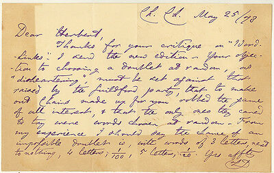 Lewis Carroll (Charles L. Dodgson) 1 page Autograph Letter Signed