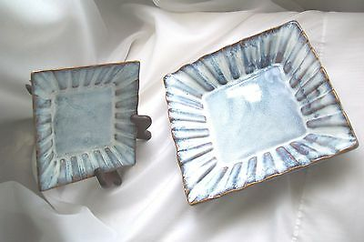 New Nib Andrea By Sadek Natural Serving Dish Plate Set Of 2 Blue Drip Home Decor