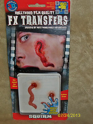 3D Fx Zombie Squirm Worms Real Looking Gory Transfers Tattoos Costume Dfxs407