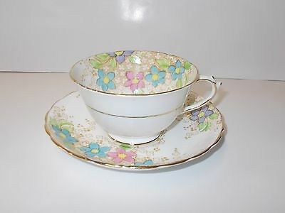 Fine English Bone China Cup and Saucer Set- Plant Tuscan 6194 Pink/Blue Flowers