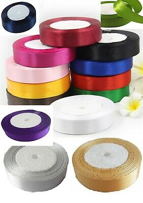 "15 ROLLS  SATIN RIBBON, 15 COLOURS 25 YARDS Each roll, 25 MM/1"" Cheapest on Ebay"