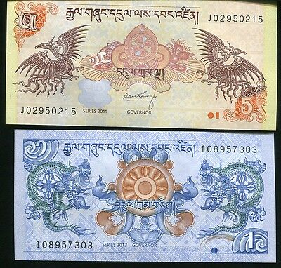 Bhutan Set 2 Pcs 1 5 Ngultrum 2011 - 2013 P 27 28 Unc