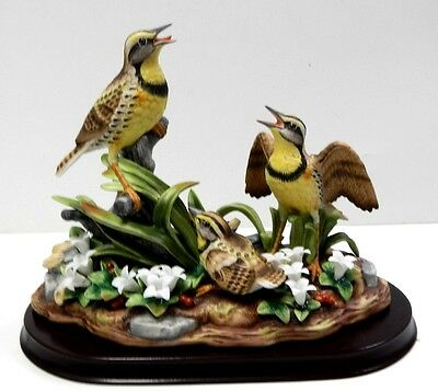 MEADOWLARKS FAMILY PARTRIDGE BRANCH PORCELAIN FIGURINE ANDREA BY SADEK  #9723
