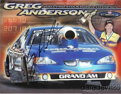 2004 Greg Anderson signed Vegas General Pontiac Grand Am Pro Stock NHRA postcard