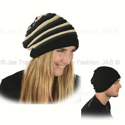REGGAE Ribbed Striped Stretchy Slouchy Beanie Jamaica Jamaincan Tam Hat RASTA