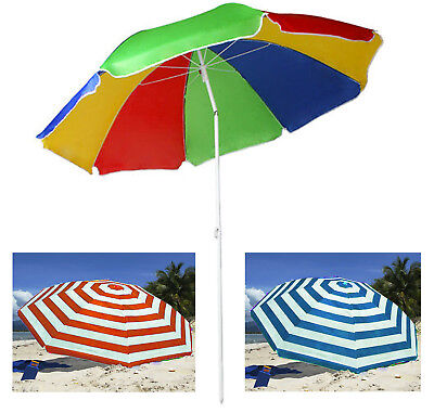 Garden Beach Patio Tilting Umbrella Parasol Sunshade UPF UV Protection Hook Base