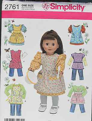 """18"""" GIRL DOLL CLOTHES & APRONS Simplicity Sewing Pattern 2761 American Made NEW"""