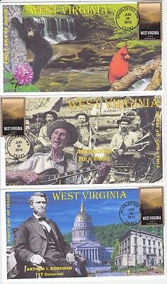 Jvc Cachets -Set Of 3-2013  West Virginia Statehood  Issue First Day Covers Fdc