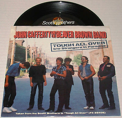 """JOHN CAFFERTY w/ the BEAVER BROWN Band ~TOUGH ALL OVER~ 7"""" 45rpm ~ 1985 M/NM"""