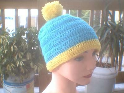 Crochet hat South Park cosplay Eric Cartman turquoise and yellow