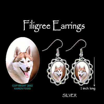 SIBERIAN HUSKY DOG Red - SILVER FILIGREE EARRINGS Jewelry