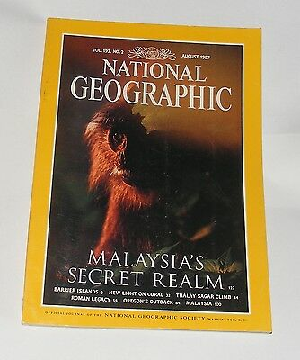National Geographic Magazine August 1997 - Malaysia/coral/oregon/roman Legacy