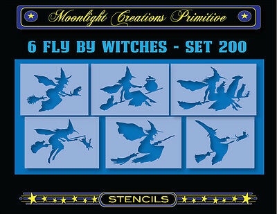 Halloween Stencil~Vintage~6 FLY BY WITCHES SET 200~Black Cats Dog Cauldron