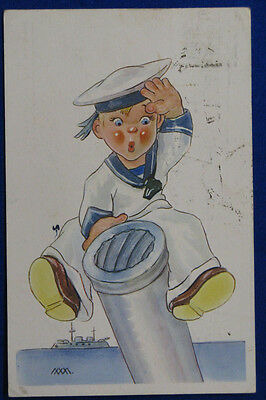 MARINARETTI  children postcard firmata MM viaggiata 1941 f/p #6235