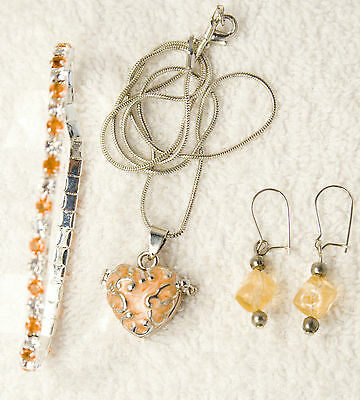 jewelry set bracelet earrings peach HEART photo locket silver tone
