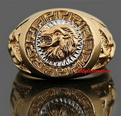 Size 8 -14 Great Crafted 18k Gold Plated Men's Wedding Ring Men's Lion Ring R134