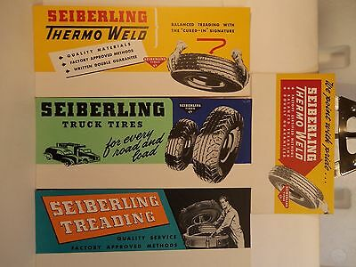 Lot 4 Vintage SEIBERLING TIRES Un-Used BLOTTERS Thermo Weld TRUCK Treading