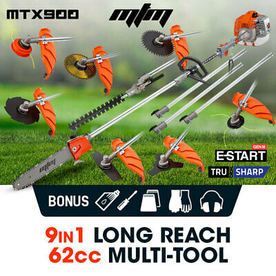 MTM 62cc Pole Chainsaw Hedge Trimmer Saw Brush Cutter Whipper Snipper Multi Tool