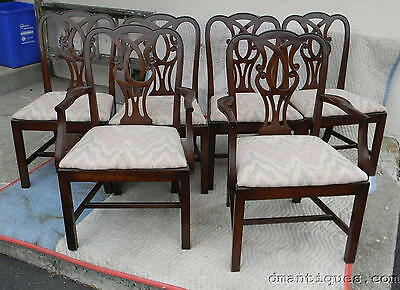 Vintage Set 6 Solid Mahogany Decorative Carved Shield Back Dining Room Chairs