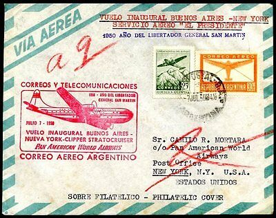 1st Flight PAN AMERICAN - BUENOS AIRES TO NEW YORK Cover 1950 VF