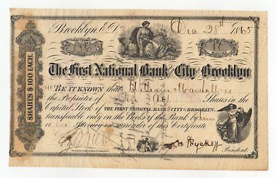 1865 The First National Bank of the City of Brooklyn Stock Certificate