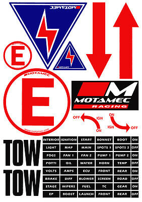 Motamec Racing MSA Scrutineer Safety Decal Stickers Sheet Electrical Cut Off etc