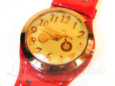 Orologio Uomo Unisex FLYING BIKER Formato Maxi Cinturino Largo Red White Black