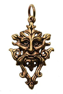 Celtic Green Man Tree Spirit Bronze Pendant With Leather Necklace & Gift Box