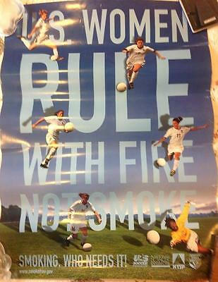 US Women's National Soccer Team Poster Anti-Smoking Hamm Foudy Scurry RARE