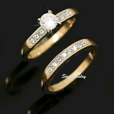 18k Rose Gold Plated Swarovski Crystal Engagement Wedding Eternity Ring Set R162