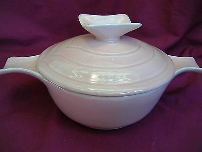 Vintage Pink Miroware Pottery Covered Dish Ovenproof w/Handles 50's Retro