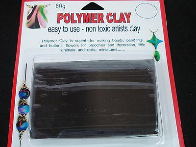 Modelling Polymer Clay Art/Craft Oven Bake 60g Black Sculpt Model FREE POSTAGE