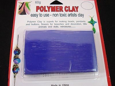 Modelling Polymer Clay Art/Craft Oven Bake 60g Blue Sculpting Doll FREE POSTAGE
