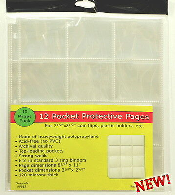 100 pages (TEN PACKS) of Unigrade 12 pocket pages for 2 1/2 x 2 1/2,or ICCS
