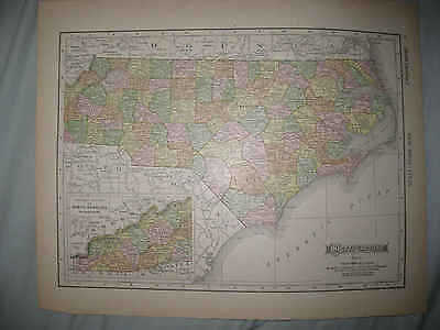 Antique 1910 North Carolina West Virginia Color Lithographed Map Railroad Nr