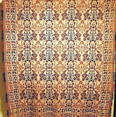 """HISTORIC ANTIQUE  DATED 1853 FLORAL COVERLET 88"""" by 80"""" VERY GOOD CONDITION"""