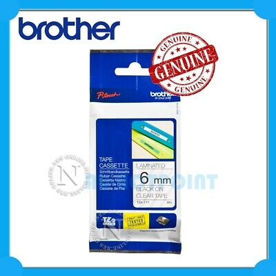 Brother Genuine TZe-111 P-touch 6mm Black-On-Clear TZ-111 Laminated Tape