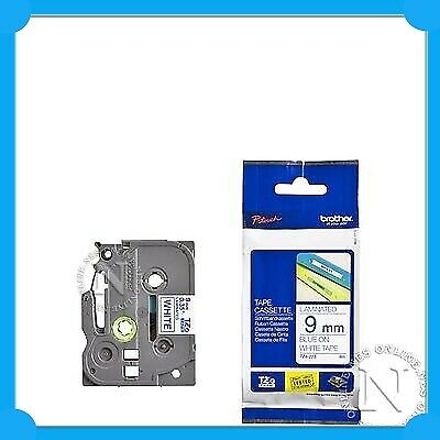 "Brother TZe223 P-touch Tape 3/8"" X 26 Ft BLUE On White 9MMx8M TZ-223 PT1010/1090"
