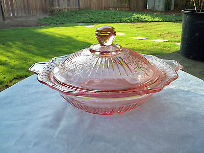 "Pink Mayfair Open Rose 7"" Covered Vegetable or Butter Dish & Cover (Chip on Lid)"