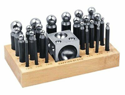 25 Piece Dapping Kit Doming Punch Block Pro Jeweler Forming Tool Set 2.3mm 25mm