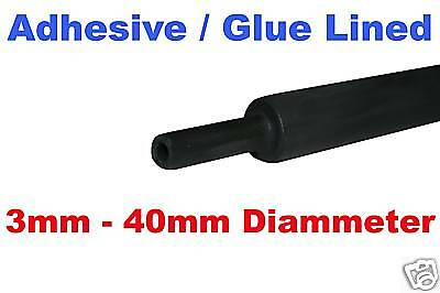 12mm ADHESIVE / GLUE LINED BLACK HEATSHRINK HEAT SHRINK
